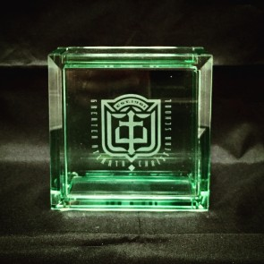 Engraved Jade Glass Box w/Lid