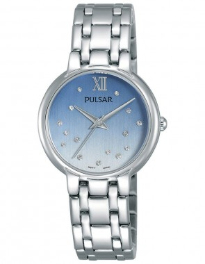 Ladies Crystal Blue Dial Silv.