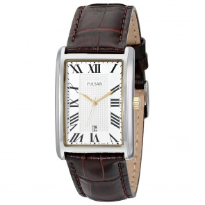 Men's Trad White Dial Brwn Lth