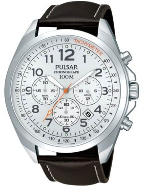 Men's White Dial Black Strap